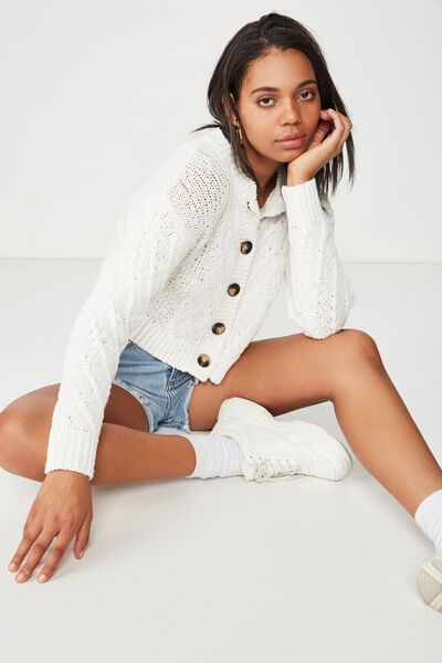 Trixie Textured Cable Button Through Cardi, CLOUD DANCER