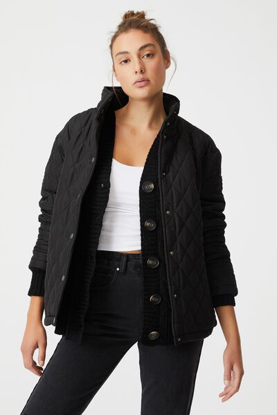 Recycled Quilted Jacket, BLACK