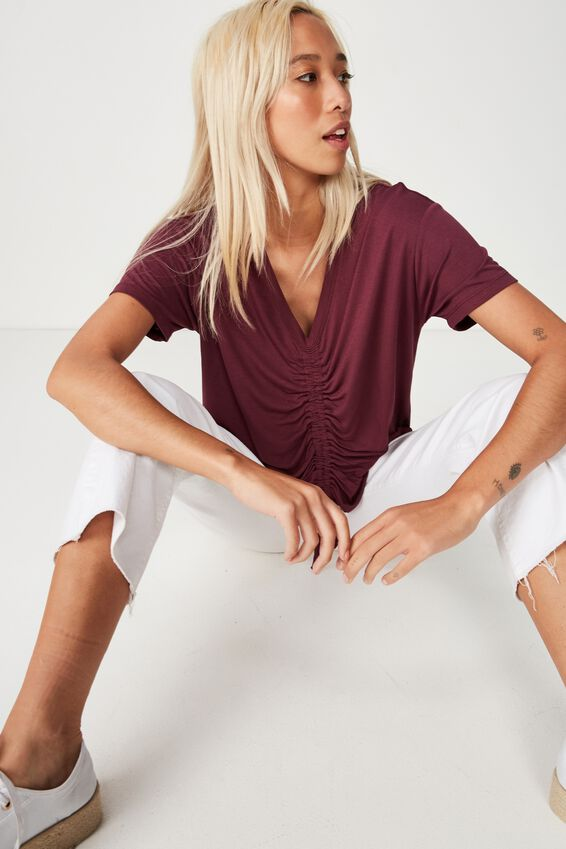 Ashleigh Extended Sleeve Rouched Tee, FIG