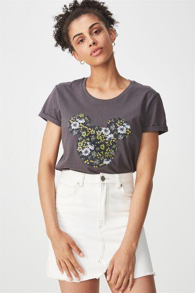 Tbar Fox Graphic T Shirt, LCN MICKEY HEAD PHOEBE SAPPHIRE FLORAL/EBONY