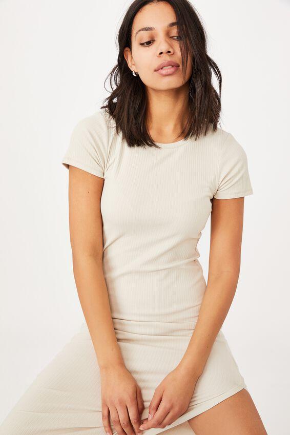 Essential Split Short Sleeve Midi Dress, SILVER LINING RIB
