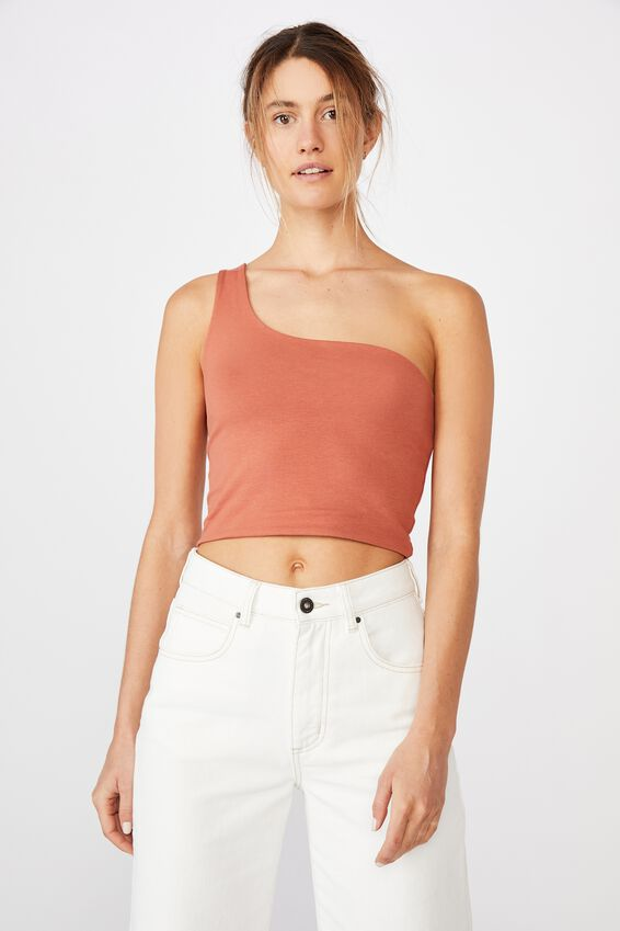One Shoulder Sleeveless Top, DUSTY BROWN