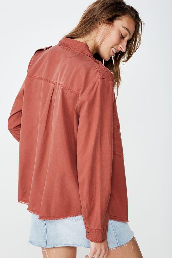 Cropped Utility Shirt, HENNA