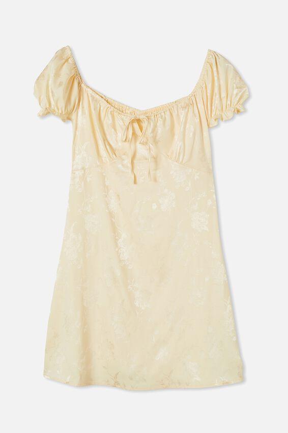 Woven Zuri Milk Maid Dress, PASTEL YELLOW FLORAL