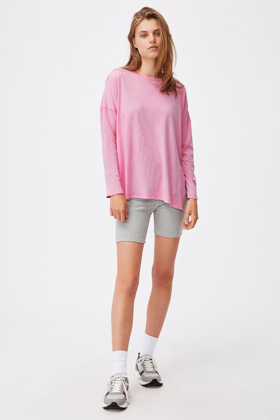 Oversized Side Split Long Sleeve Top, WASHED WILD LILAC