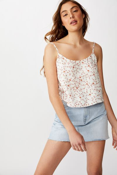 Astrid Cropped Scoop Neck Cami, EVIE DITSY MARSHMELLOW