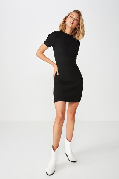 Lottie True Knit Mini Dress, BLACK