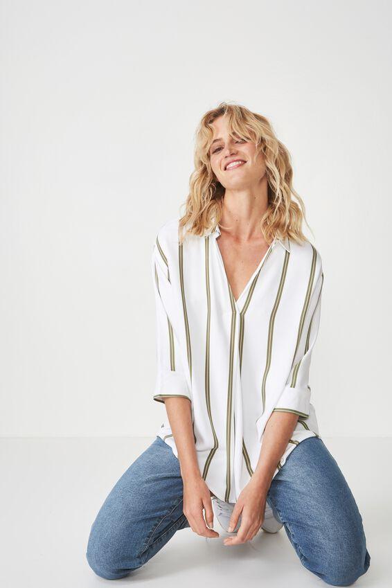 Lexie Popover Shirt, ALEXI STRIPE BURNT OLIVE