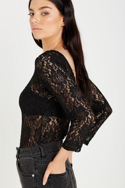 Bernie Long Sleeve Lace Bodysuit, BLACK