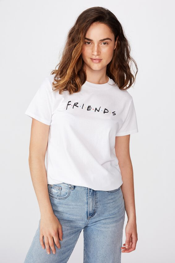 Classic Friends T Shirt, LCN WB FRIENDS LOGO/WHITE