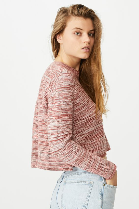 Cotton Cropped Pullover, COPPER