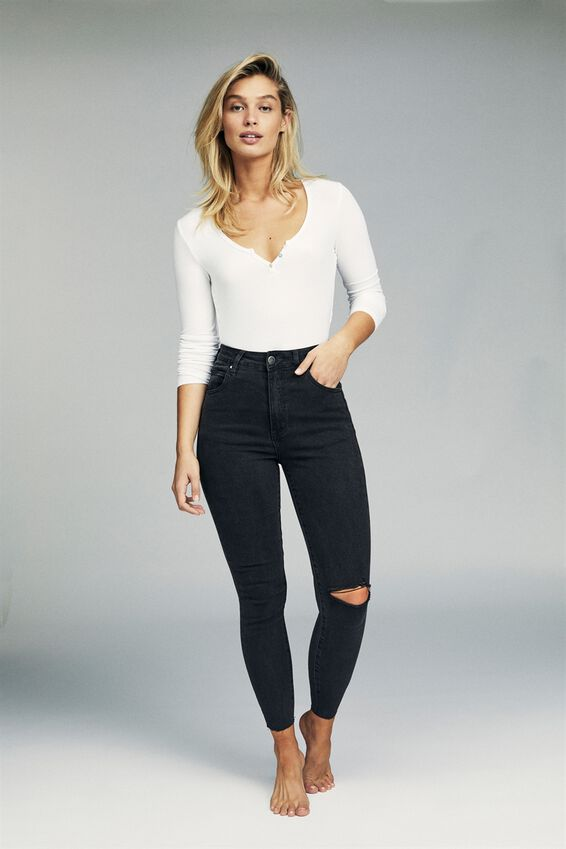 High Rise Cropped Skinny Jean, WASHED BLACK RIP