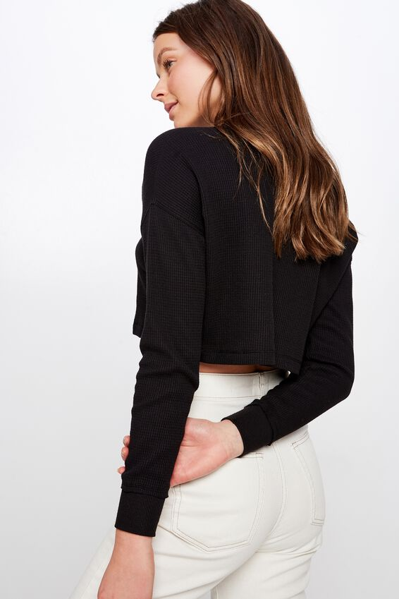 Wynter Waffle Boxy Long Sleeve Top, BLACK