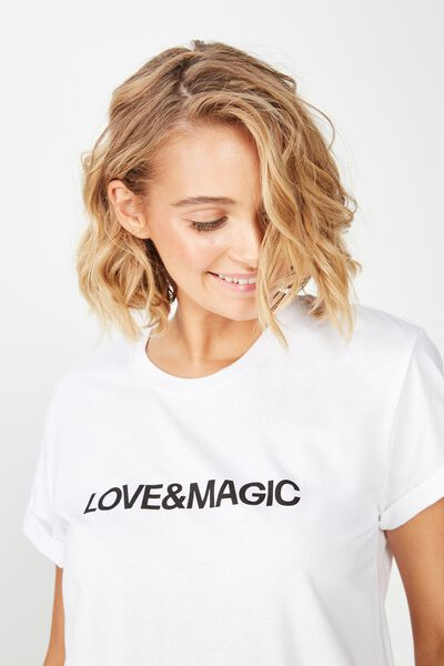 Classic Slogan T Shirt, LOVE & MAGIC/WHITE