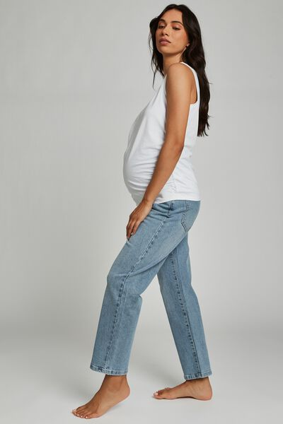 Maternity Straight Stretch Jean (Over Belly), AIREYS BLUE