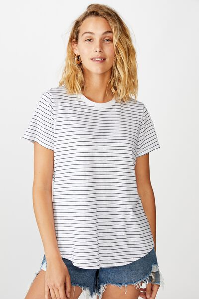 The One Crew Tee, LUCY STRIPE WHITE BLACK