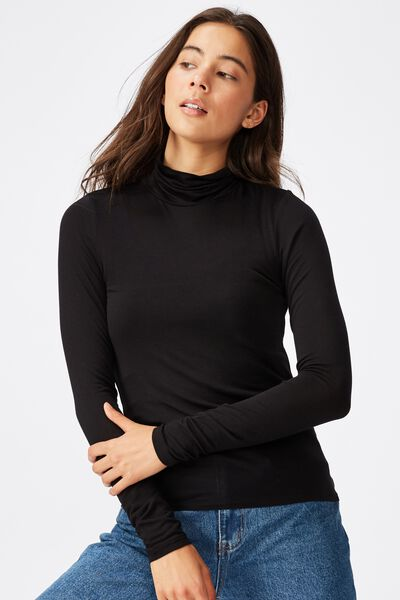 Sheer Vintage High Neck Long Sleeve Top, BLACK