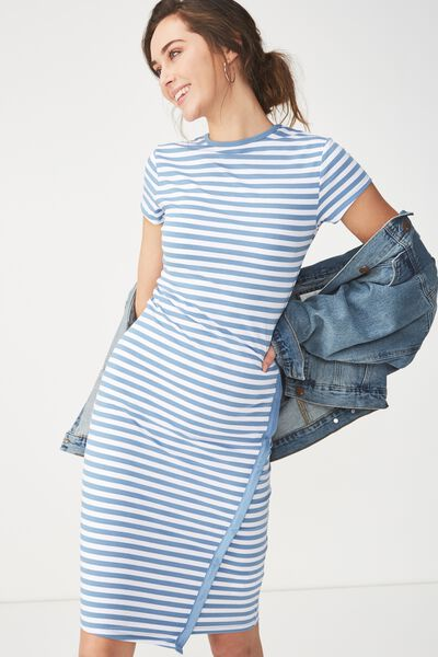 Anthea Short Sleeve Midi Dress, ANNA STRIPE PRAIRIE BLUE/WHITE