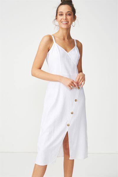 Woven Kensey Button Up Midi Dress, WHITE