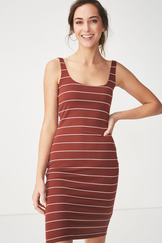 Kimi Scooped Bodycon Midi Dress, SAXXY STRIPE RICH BROWN/WHITE