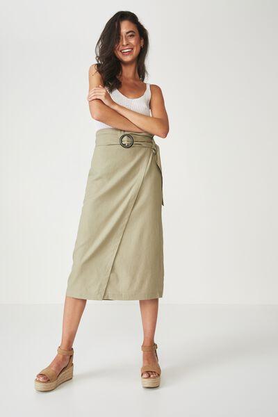 Woven Melanie Wrap Midi Skirt, SILVER SAGE - L