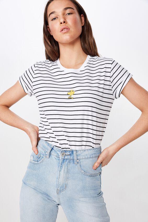 Classic Tv Movie T Shirt, LCN PEANUTS WOODSTOCK WHITE/BLACK STRIPE