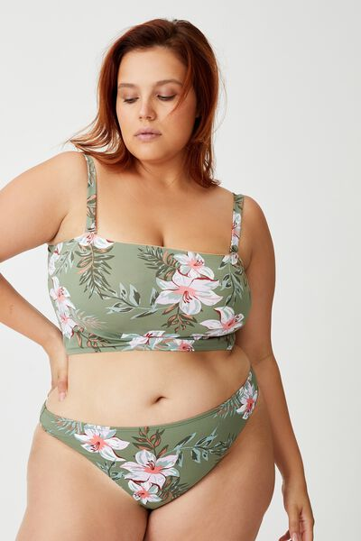 Curve High Side Brazilian Bikini Bottom, TROPICAL COOL AVOCADO