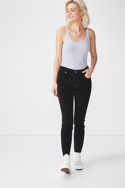Mid Rise Grazer Skinny Jean, BABY CORD BLACK