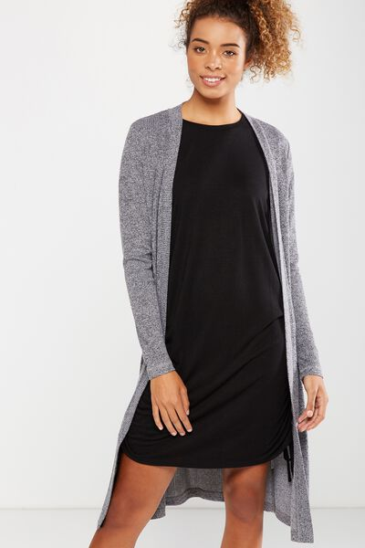 Louisa Long Line Cardi, BLACK/WHITE TWIST