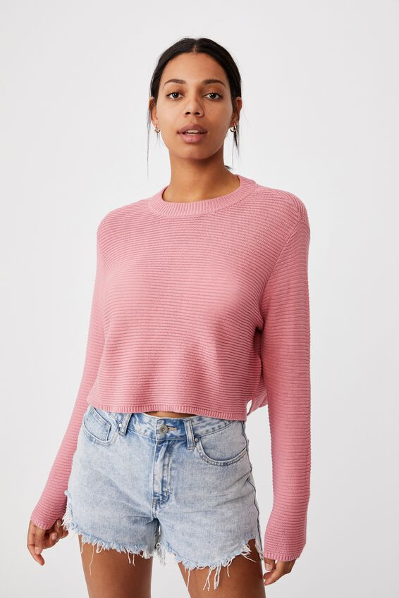 Cotton Cropped Pullover, BLUSH