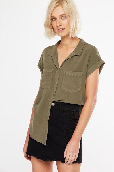 Emily Short Sleeve Shirt, KHAKI