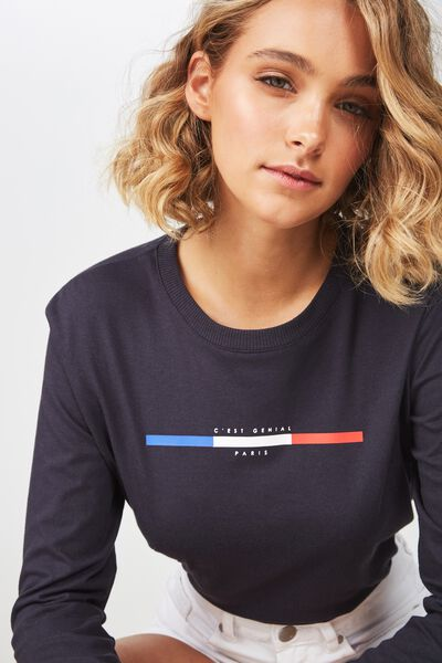 Classic Slogan Long Sleeve T Shirt, CEST GENIAL PARIS/MOONLIGHT
