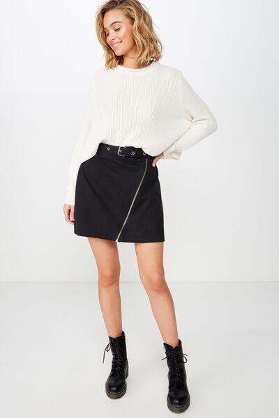 Woven Tyler Utility Skirt, BLACK