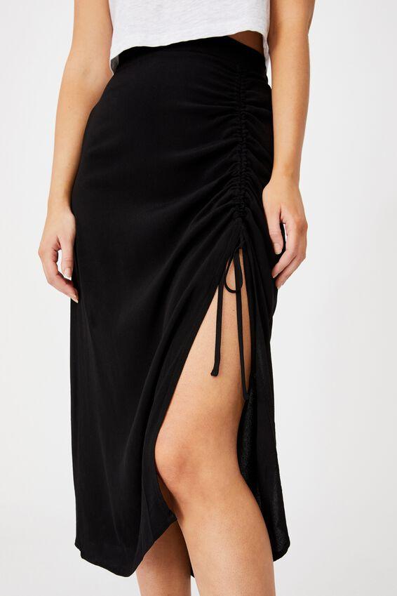 Leah Ruched Side Midi Skirt, BLACK