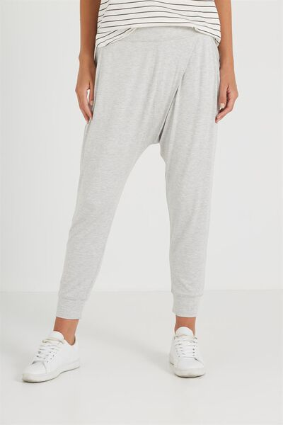 Relaxed Wrap Jersey Pant, MINI ADELE STRIPE GREY MARLE/WHITE