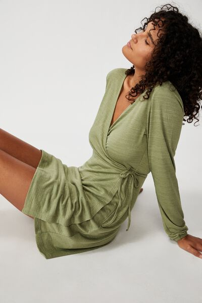 Saskia Long Sleeve Wrap Mini Dress, OIL GREEN