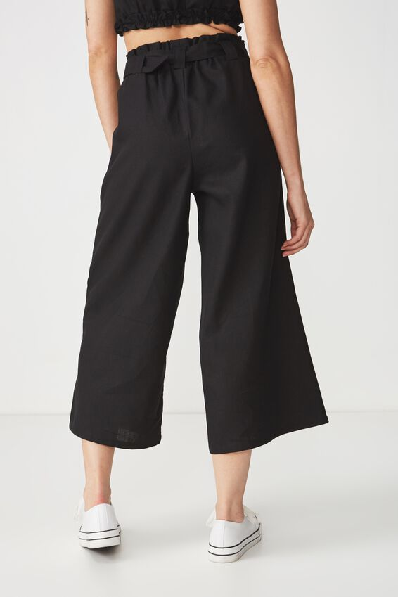 High Waist Culotte, BLACK BUCKLE