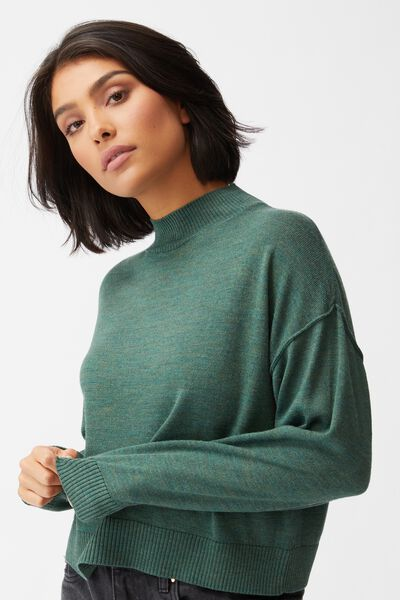 Wool Crew Neck Pullover, HERTIAGE GREEN MARLE