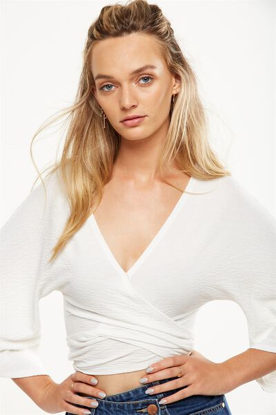 Jude Kimono Sleeve Top, WHITE