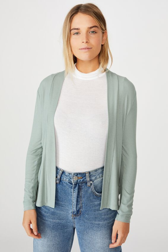 Danielle Long Sleeve Cardi, CHINOIS GREEN