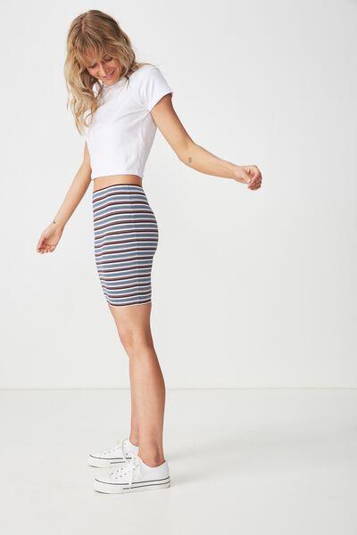 Tiana Mini Tube Skirt, ALINA STRIPE CABERNET