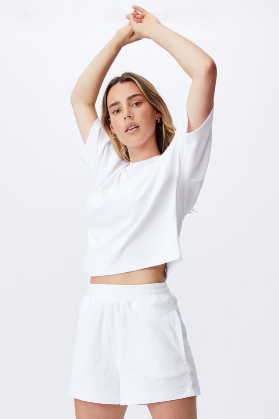 Terry Towelling Short, WHITE