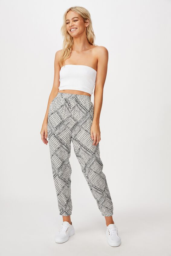 Mia Drapey Pant, BILLIE SPLICED GEO BLACK