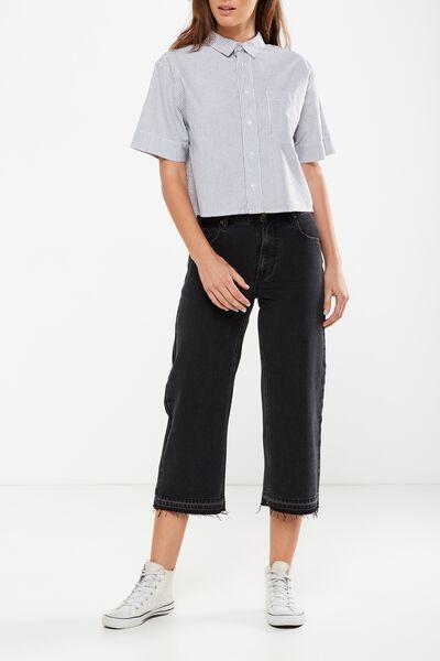 Mid Rise Wide Leg Crop Jean, UNPICKED BLACK