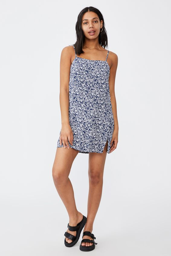 Woven Kye Strappy Mini Dress, CLARA DITSY MEDIEVAL BLUE
