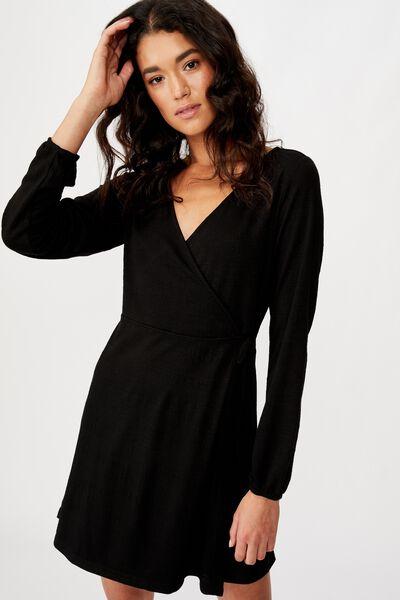 Saskia Long Sleeve Wrap Mini Dress, BLACK