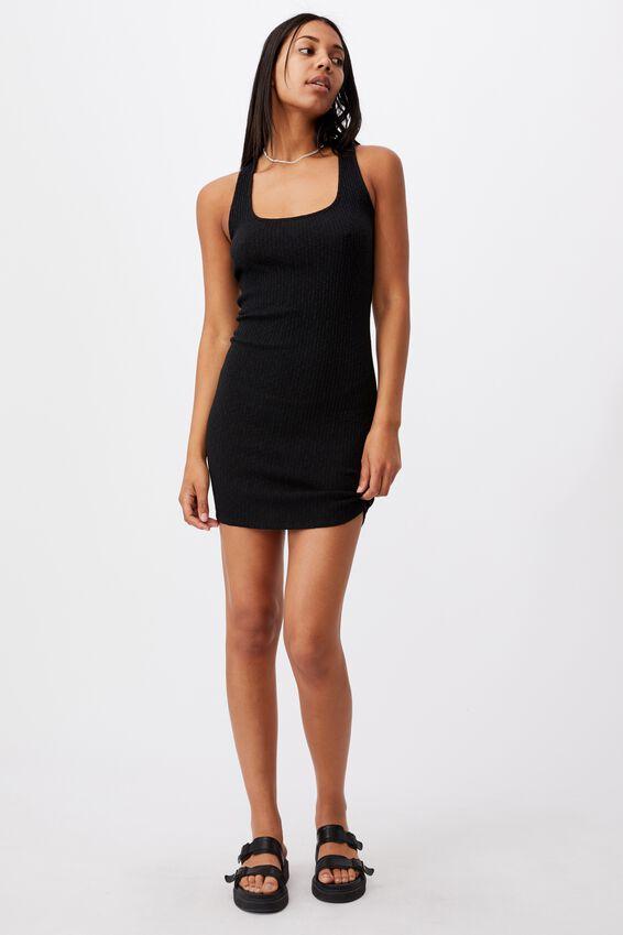 Tyra Cross Back Mini Dress, BLACK