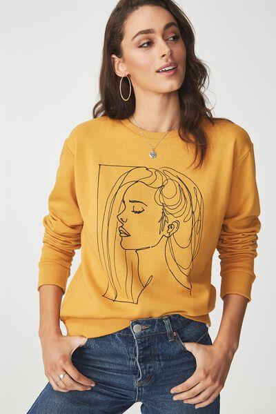 Ferguson Graphic Crew Sweatshirt, LINE LADY/SPRUCE YELLOW