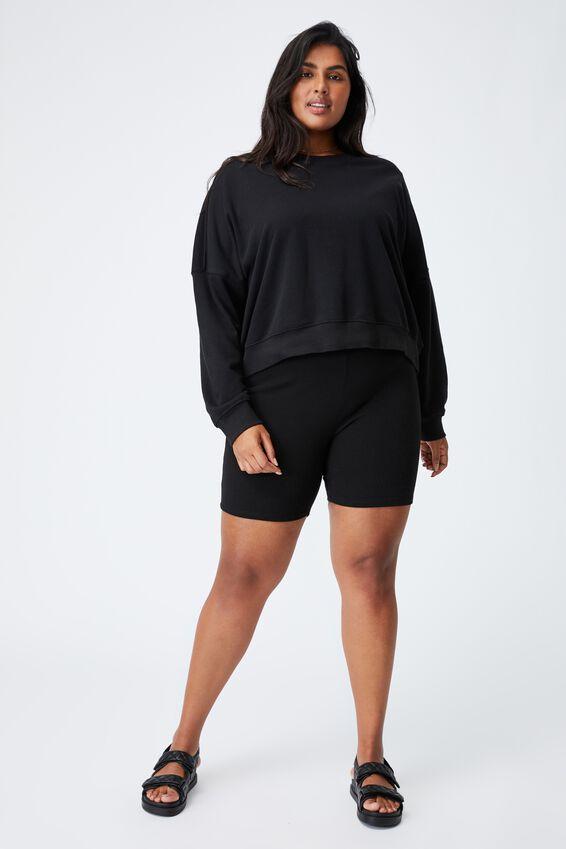 Curve Harper Crew Crop Pullover, BLACK