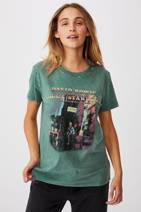 Classic Band T Shirt, LCN PER BOWIE ZIGGY STARDUST/MALLAD GREEN